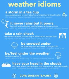 English is FUNtastic: Weather Idioms - infographic Good Vocabulary, English Vocabulary Words, English Phrases, Learn English Words, English Grammar, English Study, English Writing Skills, English Lessons, French Lessons