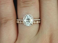 Rebecca 8x6mm & Ultra Petite Bead Eye 14kt Rose Gold Oval FB Moissanite and Diamond Halo Wedding Set (Other metals and stones available)