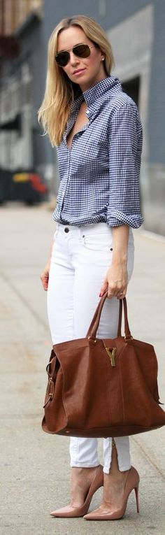 #buttondown #trend #style #outfitideas |  Blue And White Gingham Button Down + White Denim