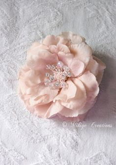 Blush Bridal Headpiece Wedding Hair Flower by Mikiye Creations