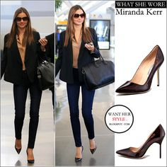 WHAT SHE WORE: Miranda Kerr in tortoise print pumps at JFK airport on January 18 ~ I want her style - What celebrities wore and where to buy it. Celebrity Style