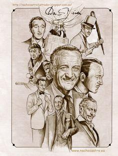 """David Niven ,illustration from the book """"Hombres de Hollywood"""".Nacho Castro.Diábolo ediciones"""