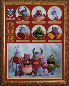 ROAR OMEGA ROAR La fraternidad Roar Omega Roar (RΩR) está conformada por lo mejor de lo mejor de la universidad. Sus miembros son los monstruos más inteligentes, habilidosos y aterradores de Monsters University, que proceden de largos y distinguidos linajes de asustadores.