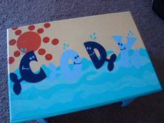 Custom Painted Under the Sea Step Stool for a Kid's Bathroom