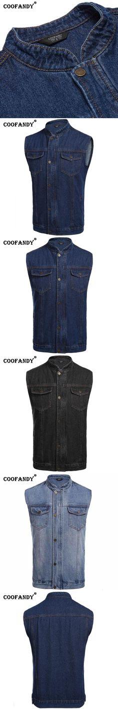 COOFANDY New Arrivals Men Denim Stand Collar Sleeveless Vest Front Pocket Slim Fit Tank Outwear