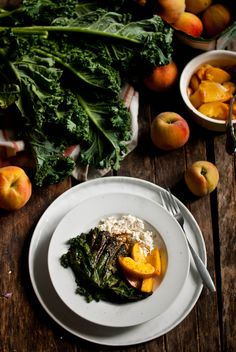 Kale Salad with Peaches and Ricotta. the gouda life