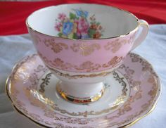 $45.00 #Gladstone #cupandsaucer Pink, Gilt, Flowers decorate #fine bone china #teacup. #TucsonTiquesCollectibles http://stores.ebay.com/Tucson-Tiques-Collectibles