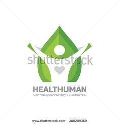 Healt Human - vector logo Concept illustration in flat style design. Human character logo sign. Leaf logo sign. Healthcare logo sign. Nature logo sign. Green life logo sign. Vector logo template.