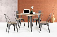 """Modrest T-14005 Modern Grey Metal and Wood Square Dining Table. Dimensions: Table: W36"""" x D36"""" x H30"""" Color: Grey Finish:  Wood -"""