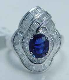 Estate Jewelry Sale! Tag $4999 Sapphire 1.62ct Diamond 18K White Gold Ring