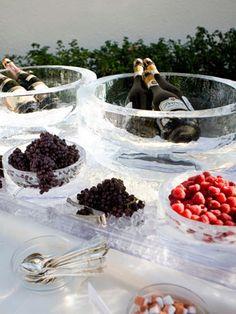 champagne bar - strawberries, black berries, blue berries