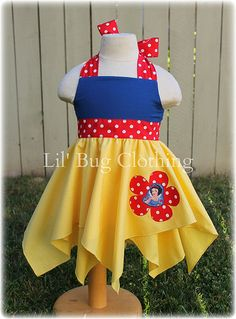 Custom Boutique Clothing Girl  Disney Snow White 1 Piece  Handkerchief Jumper Dress Halter Style  Costume