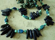 Cobalt Blue Sandstone Stick Bead Necklace, Blue/Green Azurite & Green Hemimorphite Stone Beaded Necklace by BlueRidgeBijoux on Etsy