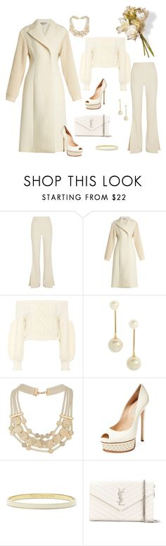 """Creamy Nudes"" by aharcaki on Polyvore featuring Solace, Sportmax, Valentino, Kate Spade, Miss Selfridge, Casadei, Yves Saint Laurent and National Tree Company"