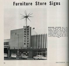Vintage trade magazine showing the details of the Granite Furniture rotosphere. Photo and text from December Salt Lake City Cemetery, Utah Housing, Ancient Greek Architecture, Gothic Architecture, Build A Coffee Table, Granite Falls, Salt Lake City Utah, Old Signs, Mayan Ruins