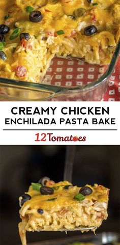 Creamy Chicken Enchilada Pasta Bake