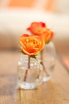 mason jar bud vases. Love, Mary Hester
