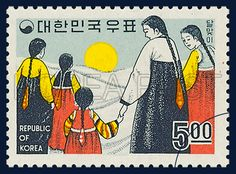 POSTAGE STAMPS OF FOLKLORE, viewing the moon, traditional culture, yellow, white, navy, 1967 09 15, 민속시리즈, 1967년 09월 15일, 575, 달맞이, postage 우표