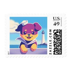 #Rottweiler Puppy Sea Dog Sailor Postage - #cute #gifts #cool #giftideas #custom