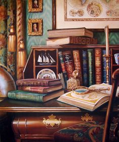 JUDY GIBSON -- rich leather library with references to the sea-- globe, map, sailing vessel