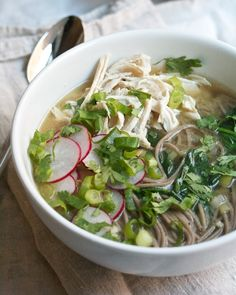 Chicken Soba Soup with Miso and Spinach #spinach #fallfest