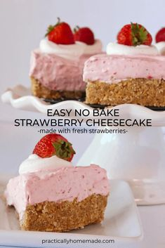 Strawberry Cheesecake No Bake, Easy Strawberry Desserts, Baked Cheesecake Recipe, Cheesecake Desserts, Summer Desserts, No Bake Desserts, Easy Desserts, Delicious Desserts, Strawberry Puree