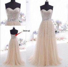 Fashion Long Prom dress Tulle Champange Beads by ELEGANCECHIC1, $205.00