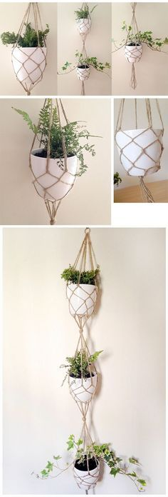 Most current Pic DIY VERTICAL PLANT HANGER TUTORIAL. I really love macramé plant hangers - they. Concepts When there is little room for the placement of flowerpots, hanging flowerpots certainly are a great Hanger Crafts, Diy Crafts, Diy Gardening, Diy Girlande, Pot Hanger, Creation Deco, Ideias Diy, Macrame Projects, Hanging Planters