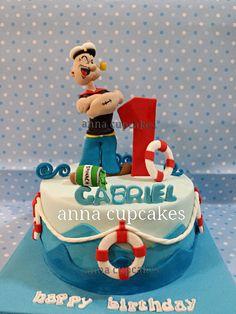 popeyre the sailor man cake - Cake by annacupcakes - CakesDecor Crazy Cakes, Fancy Cakes, Beautiful Cakes, Amazing Cakes, Fondant Cakes, Cupcake Cakes, Sailor Cake, Nautical Cake, Character Cakes