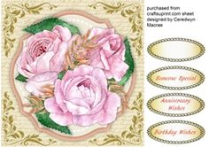 Beautiful Pink Roses on a Script Background on Craftsuprint - View Now!