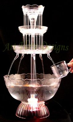 Lighted Fountain Punch Bowl Wedding Cake Water Light 8 Cups Lrg