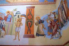 st Petr leads  righteous people to the Heaven fresco in Minsk by Anton Daineko