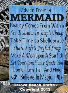 Beach Sign - Beach Decor - Mermaids - Advice From A Mermaid - Beach Theme - Coastal Decor - Reclaimed Wood - Painted