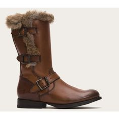 Frye Jamie Luxe Moto Shearling ($458) ❤ liked on Polyvore featuring shoes, boots, knee-boots, mid-calf boots, redwood, small heel boots, antique shoes, small heel shoes, frye shoes and low heel knee high boots