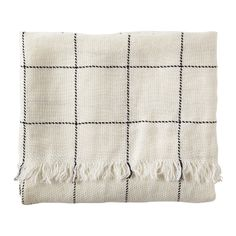 Linen Windowpane Throw - Ivory by @Serena &  Lily