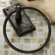 Solid Bronze Towel Ring with Gothic Rectangular Base - Dark Bronze