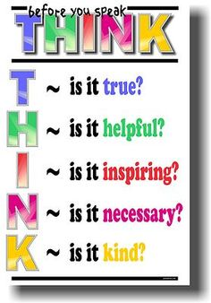 Think Before You Speak - NEW School Classroom Student Motivational POSTER on eBay!