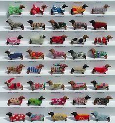 Fantastic, Annelies deKort miniature dolls house doxies with loads of different knitted coats www.anneliesdekort.nl