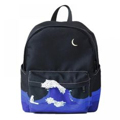 Cheap backpack school bag, Buy Quality school bag for teenager directly from China bags for teenager Suppliers: Moon Wood Original Design Black Blue Print Sea Moon Backpack Women Casual Canvas Backpack School Bags For Teenager Girls Sac Girl Backpacks, School Backpacks, Streetwear, Wave Design, Designer Backpacks, Canvas Backpack, Painting Backpack, Printed Bags, Casual Bags