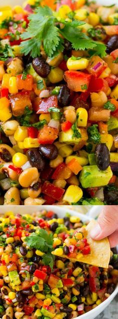 This Cowboy Caviar from Dinner at the Zoo is a colorful and hearty dip perfect for snacking at parties and potlucks! It's loaded with beans, avocado, and veggies all tossed in a zesty homemade sauce!