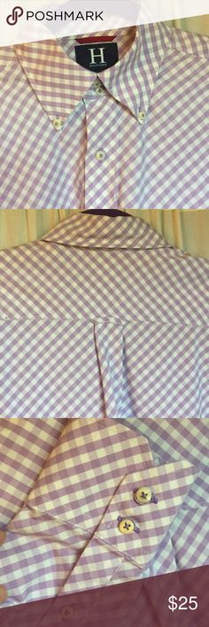 Tommy Hilfiger Men's Dress Shirt Very nice quality Tommy Hilfiger men's long sleeved dress shirt in checkered lavender. Double buttoned cuffs, front right breast pocket. This all cotton, new condition, nice heavier fabric with well made thick pearly white buttons. Tommy Hilfiger Shirts Casual Button Down Shirts