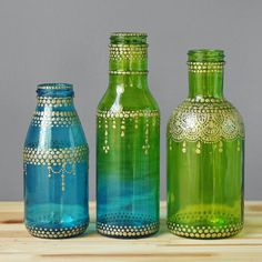 Moroccan Style Glass Jar Bud Vases, Ombre Teal to Lime Green Glass with Gold Detailing