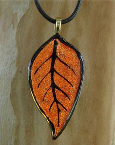 Fall Leaf Fused Glass Pendant $30.00