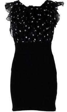Amazon.com: AxParis Frill Front Dress with Black Skirt: Clothing