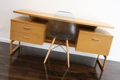 Mid Century G Plan UK Blondewood Desk Dresser Floating Top Scandi Danish Era Retro Vintage   360 Modern Furniture