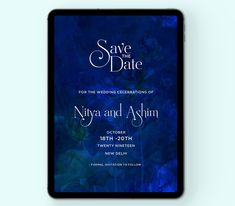 Royal blues with subtle lotuses Digital Invitations, Celebrity Weddings, Wedding Stationery, Save The Date, Blues, Dating, Studio, Quotes, Studios