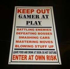 Funny Keep Out Gamer At Play Bedroom Door Plaque Xbox, Playstation Wall Plaque in Home, Furniture & DIY, Home Decor, Plaques & Signs | eBay
