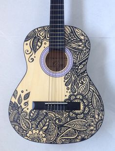Newest Art Project - Painted Guitar! - Imgur