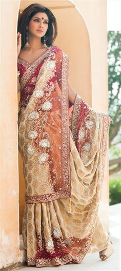 106985, Party Wear Sarees, Embroidered Sarees, Bridal Wedding Sarees, Georgette, Khadi, Zari, Stone, Beige and Brown Color Family