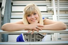 cheerleading senior portraits - leaning on the stadium railing. Cheerleading Senior Pictures, Senior Cheerleader, Cheerleading Poses, Cheer Team Pictures, Cheer Poses, Senior Pictures Sports, Senior Photos Girls, Senior Girls, Cheers Photo
